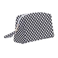 Black Grid Wristlet Pouch Bag (medium)