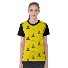 Gadsden Flag Don t Tread On Me Yellow And Black Pattern With American Stars Women s Cotton Tee