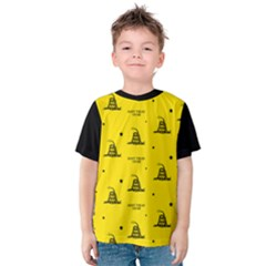 Gadsden Flag Don t Tread On Me Yellow And Black Pattern With American Stars Kids  Cotton Tee
