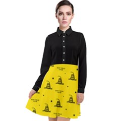 Gadsden Flag Don t Tread On Me Yellow And Black Pattern With American Stars Long Sleeve Chiffon Shirt Dress by snek