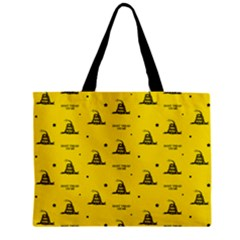 Gadsden Flag Don t Tread On Me Yellow And Black Pattern With American Stars Zipper Mini Tote Bag