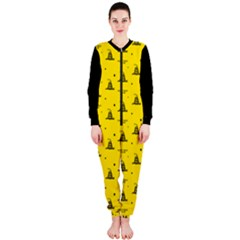 Gadsden Flag Don t Tread On Me Yellow And Black Pattern With American Stars Onepiece Jumpsuit (ladies)