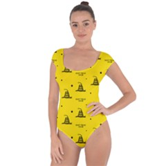 Gadsden Flag Don t Tread On Me Yellow And Black Pattern With American Stars Short Sleeve Leotard