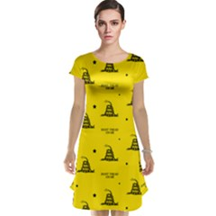 Gadsden Flag Don t Tread On Me Yellow And Black Pattern With American Stars Cap Sleeve Nightdress
