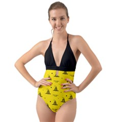 Gadsden Flag Don t Tread On Me Yellow And Black Pattern With American Stars Halter Cut Out One Piece Swimsuit