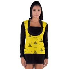 Gadsden Flag Don t Tread On Me Yellow And Black Pattern With American Stars Long Sleeve Hooded T-shirt by snek