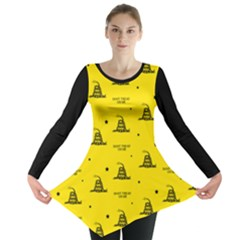 Gadsden Flag Don t Tread On Me Yellow And Black Pattern With American Stars Long Sleeve Tunic