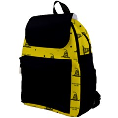 Gadsden Flag Don t Tread On Me Yellow And Black Pattern With American Stars Top Flap Backpack by snek