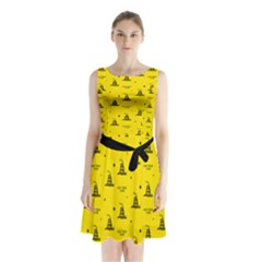 Gadsden Flag Don t Tread On Me Yellow And Black Pattern With American Stars Sleeveless Waist Tie Chiffon Dress