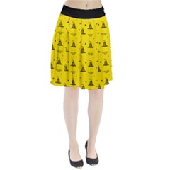 Gadsden Flag Don t Tread On Me Yellow And Black Pattern With American Stars Pleated Skirt