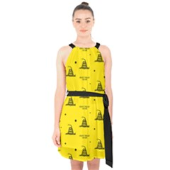 Gadsden Flag Don t Tread On Me Yellow And Black Pattern With American Stars Halter Collar Waist Tie Chiffon Dress