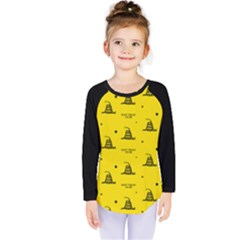 Gadsden Flag Don t Tread On Me Yellow And Black Pattern With American Stars Kids  Long Sleeve Tee