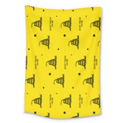 Gadsden Flag Don t Tread On Me Yellow And Black Pattern With American Stars Large Tapestry