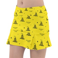 Gadsden Flag Don t Tread On Me Yellow And Black Pattern With American Stars Tennis Skorts