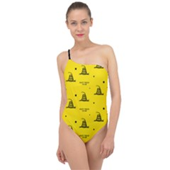 Gadsden Flag Don t Tread On Me Yellow And Black Pattern With American Stars Classic One Shoulder Swimsuit