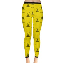 Gadsden Flag Don t Tread On Me Yellow And Black Pattern With American Stars Inside Out Leggings