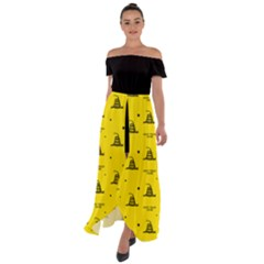 Gadsden Flag Don t Tread On Me Yellow And Black Pattern With American Stars Off Shoulder Open Front Chiffon Dress