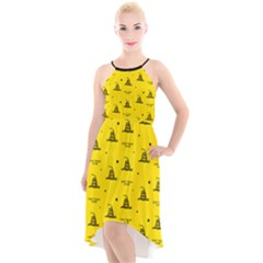 Gadsden Flag Don t Tread On Me Yellow And Black Pattern With American Stars High-low Halter Chiffon Dress