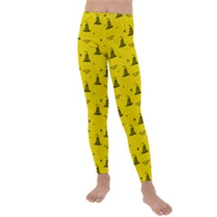 Gadsden Flag Don t Tread On Me Yellow And Black Pattern With American Stars Kids  Lightweight Velour Leggings