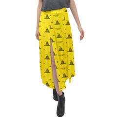 Gadsden Flag Don t Tread On Me Yellow And Black Pattern With American Stars Velour Split Maxi Skirt