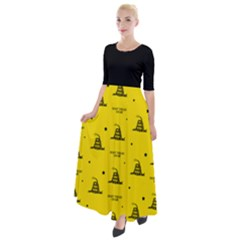 Gadsden Flag Don t Tread On Me Yellow And Black Pattern With American Stars Half Sleeves Maxi Dress by snek