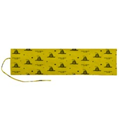 Gadsden Flag Don t Tread On Me Yellow And Black Pattern With American Stars Roll Up Canvas Pencil Holder (l)