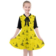 Gadsden Flag Don t Tread On Me Yellow And Black Pattern With American Stars Kids  All Frills Chiffon Dress