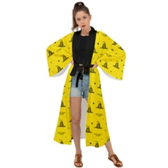 Gadsden Flag Don t Tread On Me Yellow And Black Pattern With American Stars Maxi Kimono