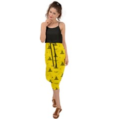 Gadsden Flag Don t Tread On Me Yellow And Black Pattern With American Stars Waist Tie Cover Up Chiffon Dress
