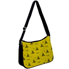 Gadsden Flag Don t Tread On Me Yellow And Black Pattern With American Stars Zip Up Shoulder Bag