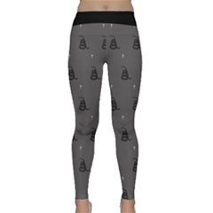 Gadsden Flag Don t Tread On Me Black And Gray Snake And Metal Gothic Crosses Classic Yoga Leggings by snek