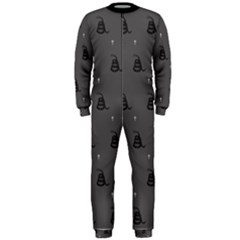 Gadsden Flag Don t Tread On Me Black And Gray Snake And Metal Gothic Crosses Onepiece Jumpsuit (men)  by snek