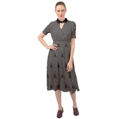 Gadsden Flag Don t Tread On Me Black And Gray Snake And Metal Gothic Crosses Keyhole Neckline Chiffon Dress
