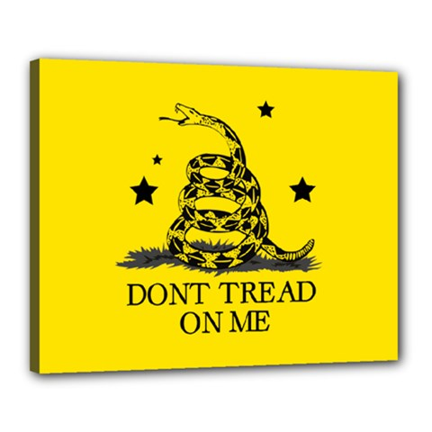 Gadsden Flag Don t Tread On Me Yellow And Black Pattern With American Stars Canvas 20  X 16  (stretched)