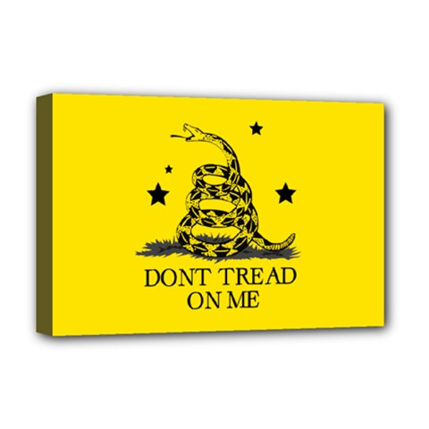 Gadsden Flag Don t Tread On Me Yellow And Black Pattern With American Stars Deluxe Canvas 18  X 12  (stretched) by snek