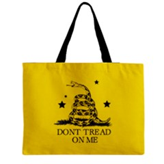 Gadsden Flag Don t Tread On Me Yellow And Black Pattern With American Stars Zipper Medium Tote Bag by snek