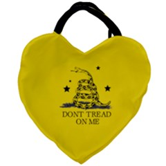 Gadsden Flag Don t Tread On Me Yellow And Black Pattern With American Stars Giant Heart Shaped Tote by snek