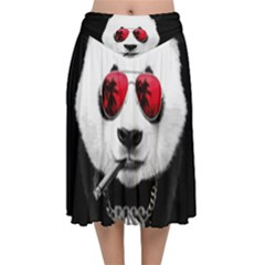 Cool Panda Velvet Flared Midi Skirt