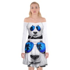 Hipster Panda Off Shoulder Skater Dress