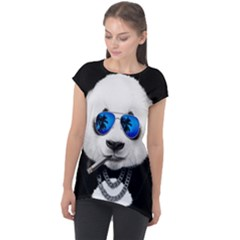 Hipster Panda Cap Sleeve High Low Top