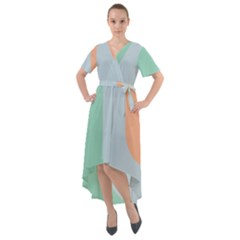 Green Palette Front Wrap High Low Dress