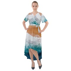Sea Waves Front Wrap High Low Dress