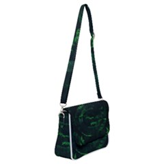 Green Leaves Shoulder Bag With Back Zipper