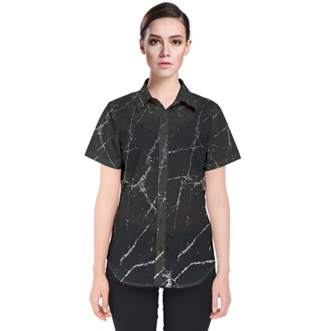 Black Marble Women s Short Sleeve Shirt by goljakoff