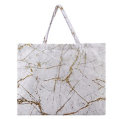 Gold Marble Zipper Large Tote Bag