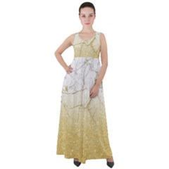 Gold Gllitter Marble Empire Waist Velour Maxi Dress by goljakoff