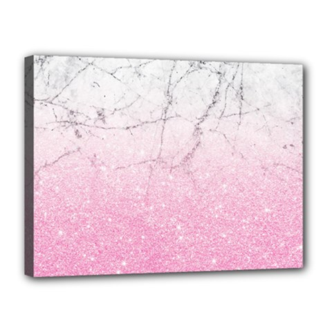 Pink Glitter Marble Canvas 16  X 12  (stretched) by goljakoff