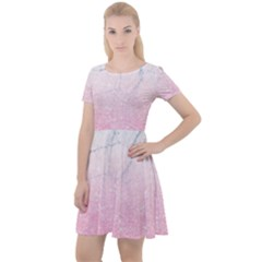 Pink Glitter Marble Cap Sleeve Velour Dress  by goljakoff