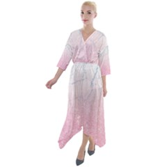 Pink Glitter Marble Quarter Sleeve Wrap Front Maxi Dress