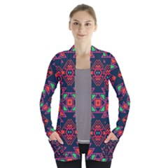 Rhombus Squares And Triangle                                                 Women s Open Front Pockets Cardigan
